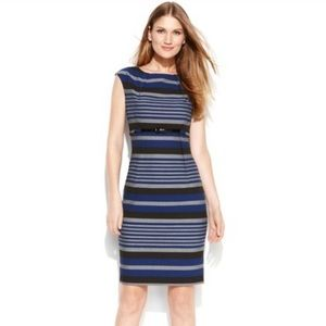 Calvin Klein Blue Gray Striped Sheath Dress Belted